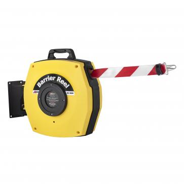 Retractable Safety Barrier Reel - Heavy duty barrier belt with hook (15-25m)
