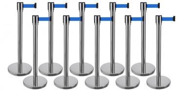 10 Pack - Silver Flexibarrier Belt Barrier (3m blue retractable belt)