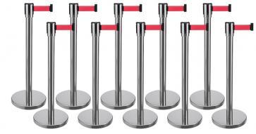 10 Pack - Silver Flexibarrier Belt Barrier (2m red retractable belt)