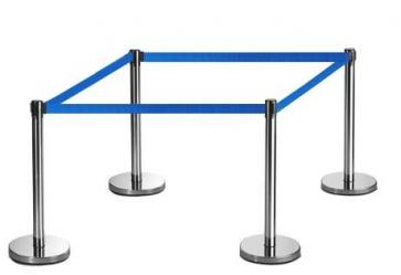 4 Pack - Silver Flexibarrier Belt Barrier (3m blue retractable belt)
