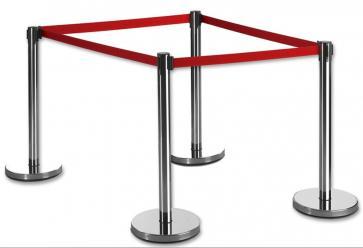 4 Pack - Silver Flexibarrier Belt Barrier (2m red retractable belt)