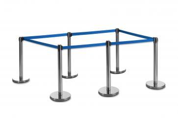 6 Pack - Silver Flexibarrier Belt Barrier (3m blue retractable belt)