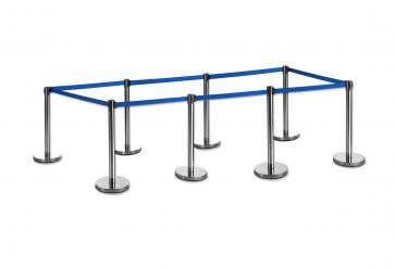 8 Pack - Silver Flexibarrier Belt Barrier (3m blue retractable belt)