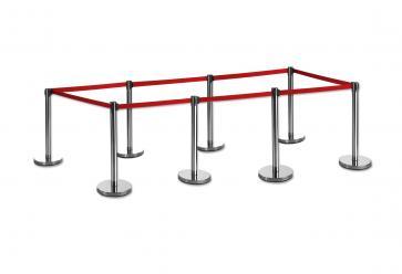 8 Pack - Silver Flexibarrier Belt Barrier (2m red retractable belt)