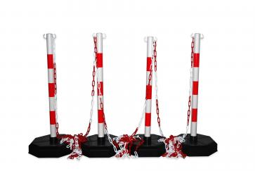 Post & Chain Barrier Kit -Robust-, 4 plastic stanchions incl. 25m chain (Red/White)