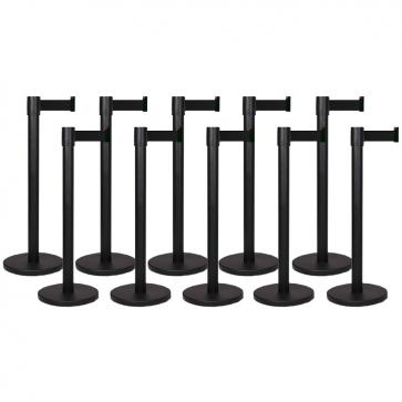 10 Pack - Black Flexibarrier Belt Barrier (3m black retractable belt)