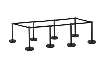 8 Pack - Black Flexibarrier Belt Barrier (3m black retractable belt)