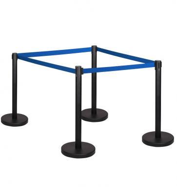 4 Pack - Black Flexibarrier Belt Barrier (3m blue retractable belt)