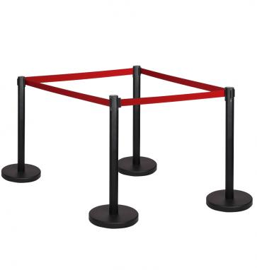 4 Pack - Black Flexibarrier Belt Barrier (3m red retractable belt)