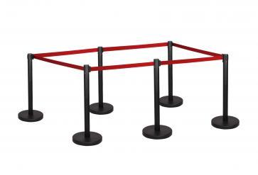 6 Pack - Black Flexibarrier Belt Barrier (3m red retractable belt)