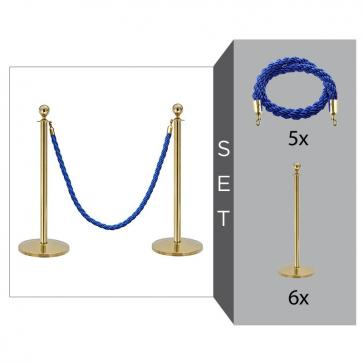 Flexibarrier Rope & Post Barrier Kit (6x Brass Barriers + 5x Blue Ropes)