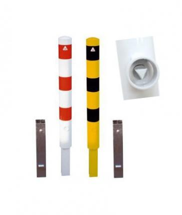 Removable safety bollard with ground socket and triangle lock (Ø152mm)