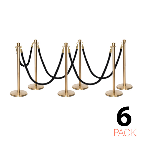 Polished Stainless Steel Barrier Posts /& Black Velvet Rope Set