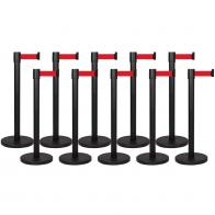 10 Pack - Black Flexibarrier Belt Barrier (3m red retractable belt)