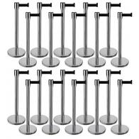 20 Pack - Silver Flexibarrier Belt Barrier (2m black retractable belt)