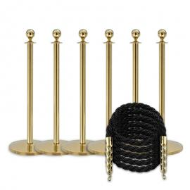 Flexibarrier Rope & Post Barrier Kit (6x Brass Barriers + 5x Black Ropes)