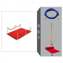 Flexibarrier Rope & Post Barrier Kit -Basic- with red carpet (6x Brass Barriers + 4x Blue Ropes +1x Red Carpet)