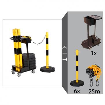 Flexibarrier Post & Chain Barrier Kit with trolley (Black/Yellow)