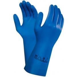 Ansell's Virtex 79-700, 31,0 cm. lång. Blå kemikaliebeständig, vätske-tät nitrilhandske.