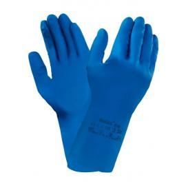 Ansell's Econohands® Plus 87-195 (Versa Touch). Tunn och ultralätt, blå naturgummi-handske, livsmedels-godkänd.