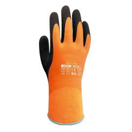 D-S's WG-338. Hel-doppad, orange, vätsketät vinterhandske av naturgummi på acryl/bomulls-foder.