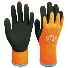 D-S's HI-VIZ termohandske WG-380. Halv-doppad vinter-handske av naturgummi på foder av acryl/bomull.