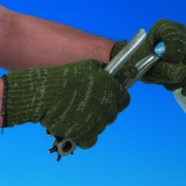 UTGÅTT. Grön loblon, stickad vante av 100% polyester.