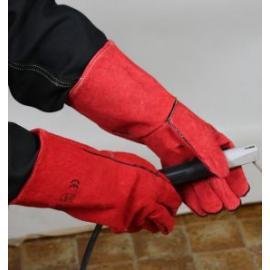 D-S's 13-555. Svetsskydds-handske. Lång, röd, fodrad, fem-fingrad.