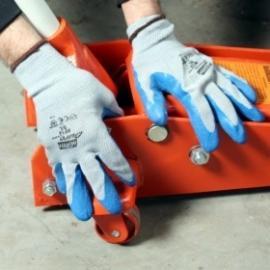 NORTH's Duro Task, NF14. Gråblå, sömlös monterings-handske av bomull/polyamid. Längd: 21,0-28,0 cm.