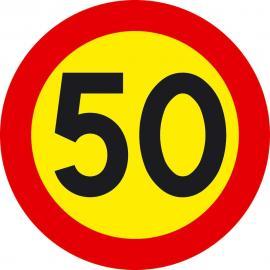 Förbudsskylt, Max hastighet 50 km/h, Ø 600 mm