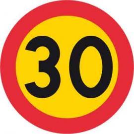 Förbudsskylt, Max hastighet 30 km/h, Ø 600 mm