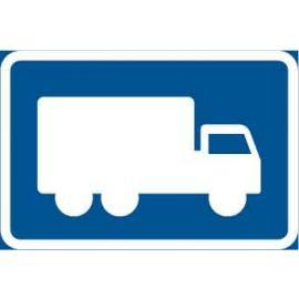 """Påbudsskylt, Påbjuden körning med Lastbil """"Höger"""""""