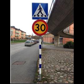 Stolpreflex Blå/Vit till 60mm vägmärkesrör (1300-1800mm)