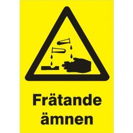 Varningsskylt. Frätande ämnen