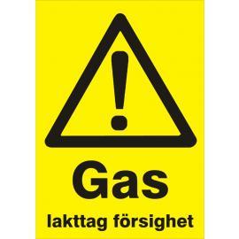 Varningsskylt. Gas