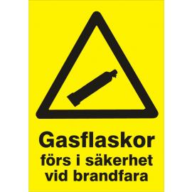 Varningsskylt. Gasflaskor förs i säkerhet vid brand