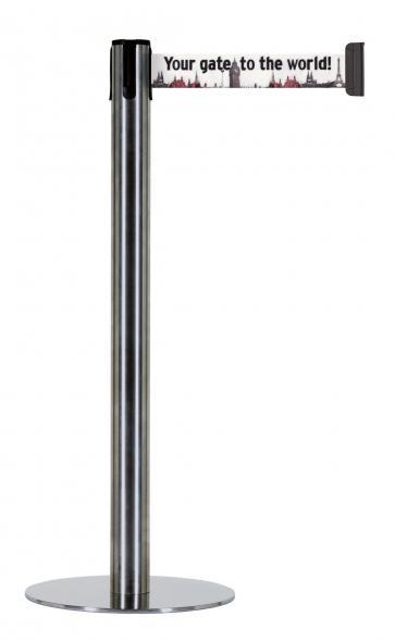 Beltrac Imprint Accent - Avspärrningsstolpe med slimmad fot och eget tryck (2,3m)