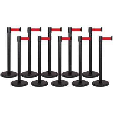 Avspärrningspaket -Basic- 10x3m utdragbart band (svart stolpe med rött band)
