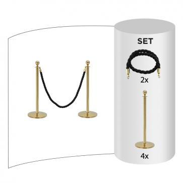 4 pack - Köstolpe Mässing + Svarta rep (4 x avspärrningsstolpar i mässing + 2 x svarta rep)