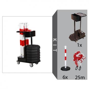 Avspärrningsstolpar med kedja inklusive transportvagn (Röd/Vit - 25m)