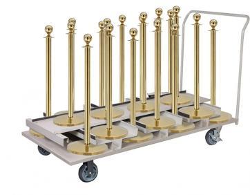 Avspärrningspaket -Expo- 18st stolpar (Mässing), rep & transportvagn