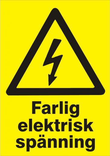 Varningsskylt. Farlig elektrisk spänning