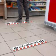 Självhäftande golvmarkeringsdekal -Håll avstånd- (600x90mm)