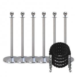 Köpaket -Silver- 6 stolpar / 4 rep (Svarta)