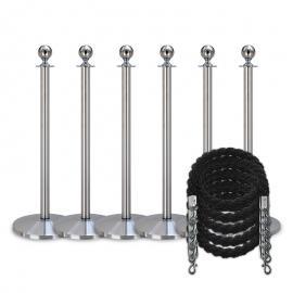 Köpaket -Silver- 6 stolpar / 5 rep (svarta)