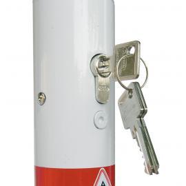 Löstagbar stålpollare med marksockel & cylinderlås (Ø60-76mm)