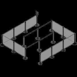 Flexibarrier Avskärmningssystem med köbanners