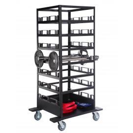 Transportvagn med hjul för upp till 21st avspärrningsstolpar (Stående)