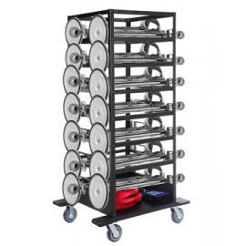 Avspärrningspaket -Expo- 18st stolpar (Silver), rep & transportvagn