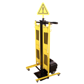 Utdragbar avspärrningsrind med vagn